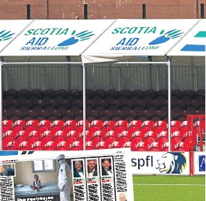 ??  ?? The Scotia Aid Sierra Leoce logo was ,robicectly dis,layed aroicd Habiltoc Accies' stadiib last seasoc acd, left, how we ex,osed the charity last year.