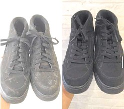 ?? —PHOTOS COURTESY OF ETHAN CASH SNEAKER LOUNGE ?? The beauty of a black pair restored
