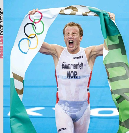 ??  ?? LEFT Kristian Blummenfelt is elated to take gold in Tokyo BELOW Tyler Mislawchuk pushed to 15th place, 1:24 behind Blummenfelt OPPOSITE In his Olympic debut, Matthew Sharpe would bravely be the last racer to notch a finish