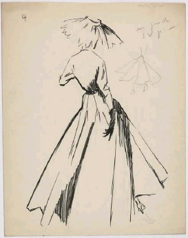 ??  ?? Below right: a 1948 sketch by ChristianDior for his Miss Dior dress