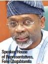 ??  ?? Speaker, House of Representatives, Femi Gbajabiamila