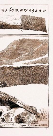 ??  ?? Diese Illustration aus der Wochenzeitschrift «The Graphic», die 1883 von Shapiras Entdeckung berichtete, zeigt... 1 ein Fragment des Manuskripts 2 einen der Pergamentstreifen 3 eine Ansicht des angeblichen Fundortes, wahrscheinlich das Wadi Mujib im heutigen Jordanien 4 einige frühe hebräische Schriftproben 5 ein prähistorisches Steingrab, das im Manuskript erwähnt wird