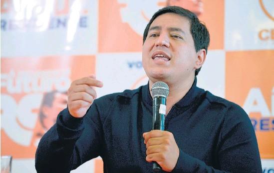 ?? AFP ?? Andrés Arauz es el favorito para ganar el próximo domingo en Ecuador.