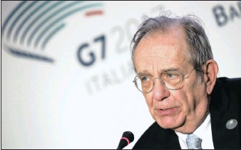 ??  ?? Italy's Finance Minister Pier Carlo Padoan attends a news conference during a G7 meeting for financial leaders, in the southern Italian city of Bari, Italy, on Saturday. Padoan stressed the need of common action in the wake of the recent cyber attacks.