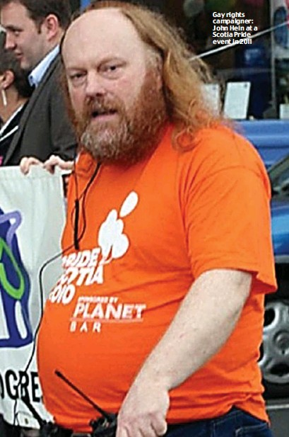 ??  ?? Gay rights campaigner: John Hein at a Scotia Pride event in 2011