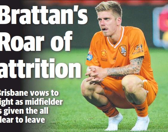 ??  ?? FUTURE UNCLEAR: Brisbane Roar midfielder Luke Brattan is trying to leave the Roar over unpaid superannuation.
