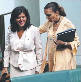 IN THE SIGHTS: Julia Banks with Anne Aly at Parliament. Picture: Gary Ramage