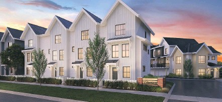 ?? SUPPLIED ?? Crimson at Cloverdale Village townhome project by RDG Management Ltd. offers 59 townhomes anchored by a clubhouse.