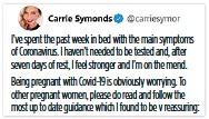 ??  ?? REVELATION: Ms Symonds' Twitter feed yesterday