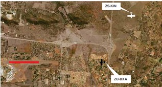 ??  ?? Reloative positions of both aircraft, ZS-KIN was cleared to follow ZU-BXA onto final approach Runway 29