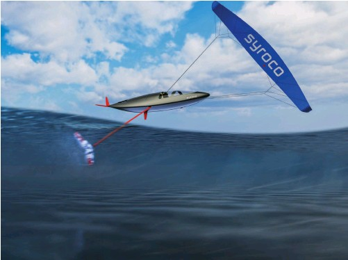 ?? PHOTO : COURTESY SYROCO ?? Syroco's vision aims to put a kite in the air connected by wires to a pod with a single connection to a supercavitating subsurface foil holding it down.