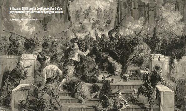 ?? EDHEM ELDEM KOLEKSİYONU ?? 8 Haziran 1878 tarihli Le Monde Illustré'de yayımlanan temsili resimde Çırağan Vakası.
