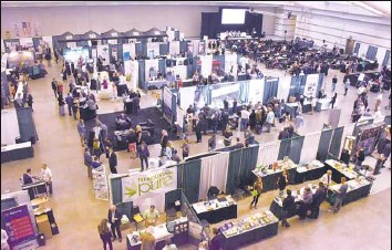 ?? Darrell Sapp/Post-Gazette ?? Some of the booths at the World Medical Cannabis Conference and Expo on Friday at the David L. Lawrence Convention Center, Downtown.
