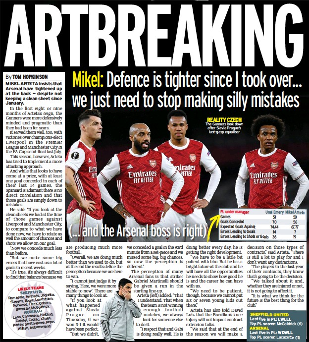 ??  ?? REALITY CZECH The Gunners look down after Slavia Prague's last-gasp equaliser PL under manager Unai Emery Mikel Arteta Games 51 50 Goals Conceded 70 56 Expected Goals Against 74.44 67.77 Errors Leading to Goals 14 7 Errors Leading to Shots or Goals 36 19