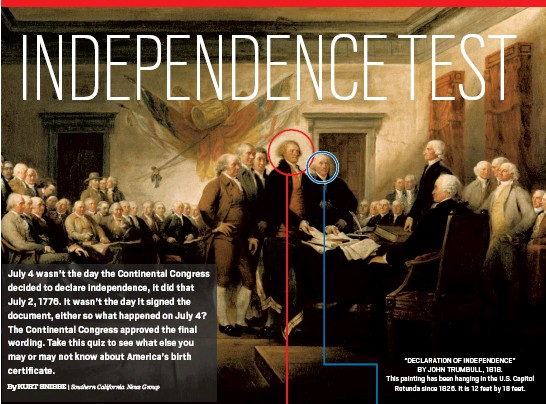 """??  ?? """"DECLARATION OF INDEPENDENCE"""" BY JOHN TRUMBULL, 1818. This painting has been hanging in the U.S. Capitol Rotunda since 1826. It is 12 feet by 18 feet."""