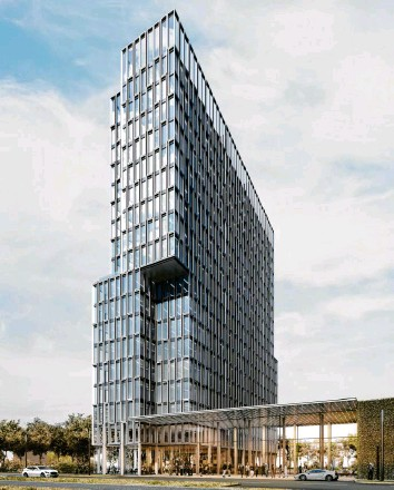 ?? Foto: Eicke Becker_architekten Berlin ?? Ein etwa 60 Meter hohes Hochhaus (hier eine Visualisierung) ist im Innovationspark geplant.