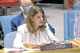??  ?? Ante los doce miembros del Consejo de Seguridad, la vicepresidenta y canciller Marta Lucía Ramírez explicó los avances en la implementación del Acuerdo de Paz y la violencia registrada en el país.