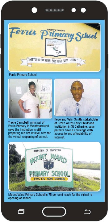 ??  ?? Ferris Primary School Tracie Campbell, principal of Ferris Primary in Westmoreland, says the institution is still preparing but not at level zero for the virtual reopening of school. Reverend Valin Smith, stakeholder of Green Acres Early Childhood Institution in St Catherine, says parents have a challenge with access to and affordability of Internet. Mount Ward Primary School is 75 per cent ready for the virtual reopening of school.