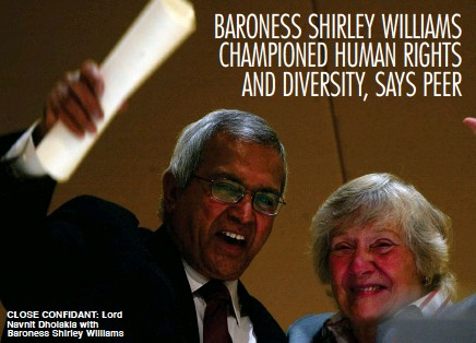 ??  ?? CLOSE CONFIDANT: Lord Navnit Dholakia with Baroness Shirley Williams