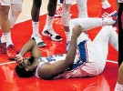 ?? Photo / AP ?? Joel Embiid took a couple of falls but starred for the 76ers.