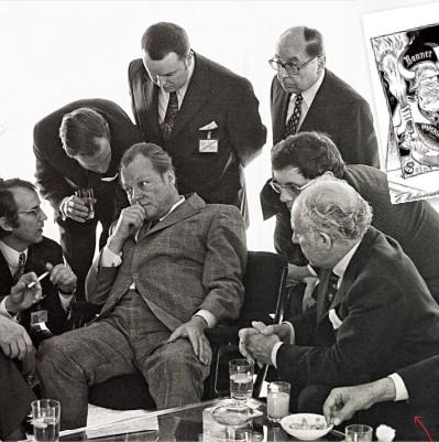 ??  ?? Неформальная беседа Леонида Брежнева (слева) и Вилли Брандта (в центре), май 1973 года