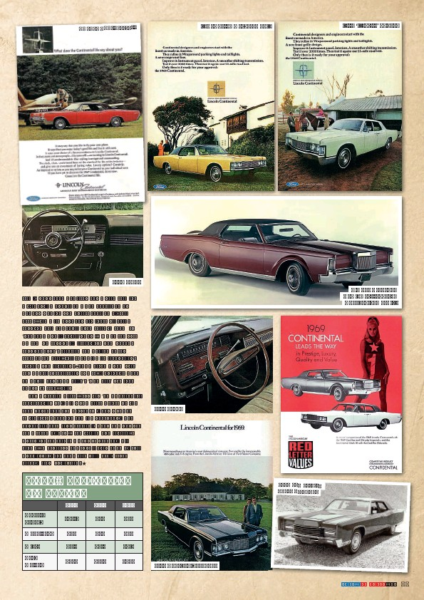 ??  ?? By 1967 Continental ... 1967 dash. 1968 dash. ... was being marketed on... 1969 Continental coupe. 1970 saw suicide doors dropped. ... its 'lifestyle' values. Big news for 1969 was the arrival of the Continental Mark III.