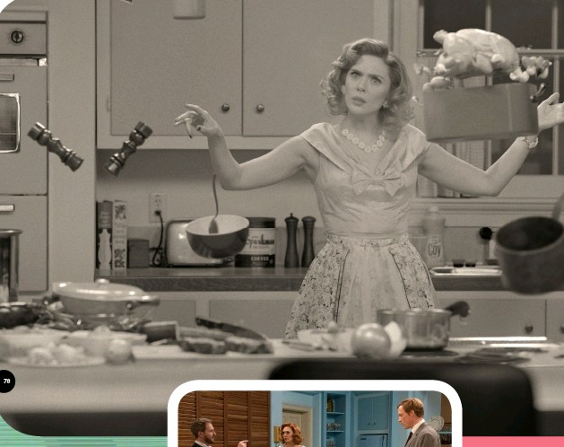??  ?? BEWITCHED Of course, housework's always easier with superpowers… (above).