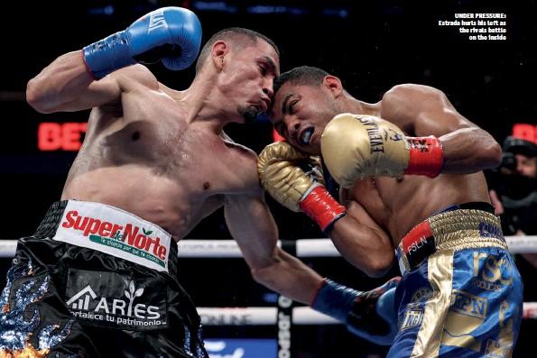 ?? Photos: ED MULHOLLAND/MATCHROOM & MELINA PIZANO/MATCHROOM ?? UNDER PRESSURE: Estrada hurls his left as the rivals battle on the inside