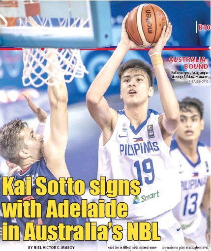 ?? FIBA PHOTO ?? AUSTRALIAB­OUND Kai Sotto goes for a jumper during a FIBA tournament.