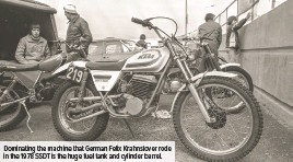 ??  ?? Dominating the machine that German Felix Krahnstover rode in the 1978 SSDT is the huge fuel tank and cylinder barrel.