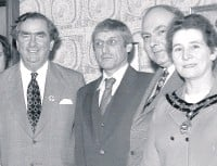 ??  ?? Arthur Davidson on becoming Accrington MP in 1966 and pictured centre when cabinet minister Denis Healey visited the town in 1978