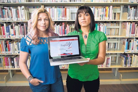 """?? MARLA BROSE/JOURNAL ?? Central New Mexico Community College English instructors Tammy Wolf, left, and Jennifer Schaller, right, recently partnered to create a new """"open educational resource"""" textbook for the school's English 1101 and 1102 writing courses."""