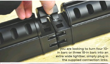 ??  ?? If you are looking to turn four 10in bars or three 18-in bars into an extra wide lightbar, simply plug in the supplied connection links.