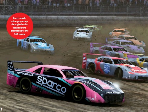 ??  ?? Career mode takes players up through the dirt ranks before graduating to the SRX Series
