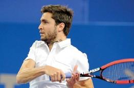 ?? Photo Sylvain Thomas/ ?? MONTPELLIER, PARK & SUITES ARENA, LUNDI. – Gilles Simon s'interroge sur la notion de « talent » dans le tennis. Et ne semble pas toujours d 'accord avec les observateurs sur cette question.