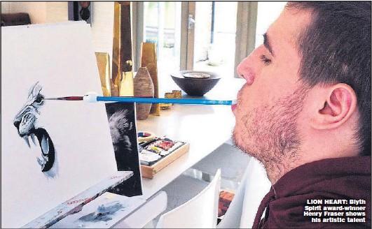 ??  ?? LION HEART: Blyth Spirit award-winner Henry Fraser shows his artistic talent