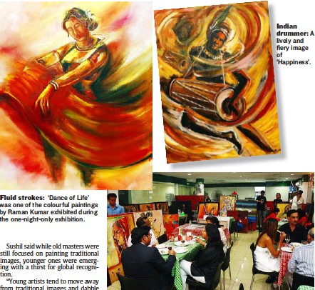 ??  ?? Fluid strokes: 'Dance of Life' was one of the colourful paintings by Raman Kumar exhibited during the one-night-only exhibition. Indian drummer: A lively and fiery image of 'Happiness'. Informal setting: Guests enjoying drinks and pizza surrounded by...