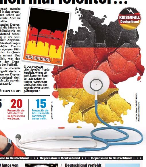 """??  ?? Das Magazin """" Der Spiegel""""fragte kürzlich, wie es so weit kommen konnte: """" Die Krisen in Politik, Wirtschaft und Sport sind das Ergebnis von Selbstgefälligkeit."""""""