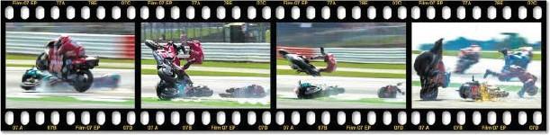 ?? BILD: SN/INSTAGRAM, MONTAGE: SN/STAUFFER ?? Die spektakulären Bilder des Sturzes von Andrea Dovizioso ließen den Zuschauern von Silverstone den Atem stocken.