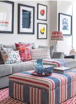 ??  ?? SITTING ROOM The girls' den was designed to link in with abstract art by Terry Frost from Cricket Fine Art. The sofa and the stool fabric are by Gastón y Daniela, available through Thorp & May, prices on request