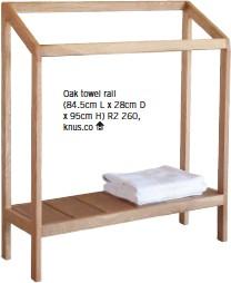 ??  ?? Oak towel rail (84.5cm L x 28cm D x 95cm H) R2 260, knus.co
