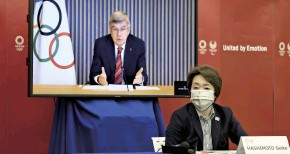 ??  ?? The Yomiuri Shimbun Seiko Hashimoto, president of the Tokyo Organizing Committee of the Olympic and Paralympic Games, participates in an online meeting in Tokyo on April 28. IOC President Thomas Bach is seen on a monitor.