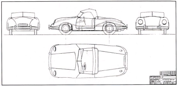 ??  ?? Above: Not until January 6th 1948 was drawing 356.00.106 prepared to move the VW two-seater project forward, showing its space frame in shadow lines. Now the body overhung the wheels substantially