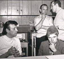 ??  ?? Above: Bert Berns (left), owner of two record labels, Bang and Shout, and singer-songwriter Van Morrison (lower right).