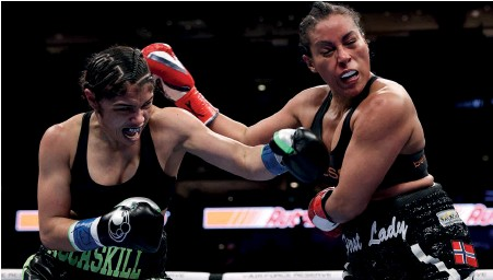 ??  ?? ON THE BUTTON: Mccaskill wins a close fight but Braekhus doesn't get a fair shake from the judges SUPPORTING CAST: Kyogouchi defeats Vega [below left] while Williams bullies Douglin