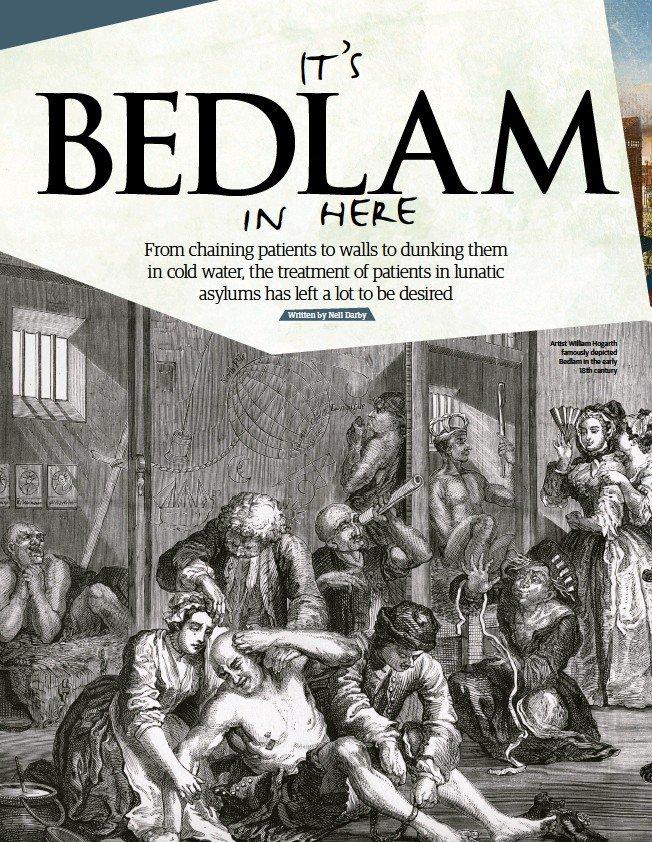 ??  ?? Artist William Hogarth famously depicted Bedlam in the early 18th century