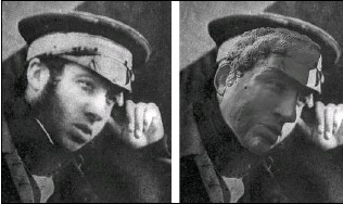 ??  ?? The facial reconstruction of Harry Goodsir ( right) superimposed on a high-resolution copy of a photograph that shows, as predicted, a deep groove below his lower lip.
