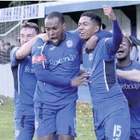 ??  ?? Ramsbottom United players celebrate a goal earlier this year PHOTO:FRANK CROOK