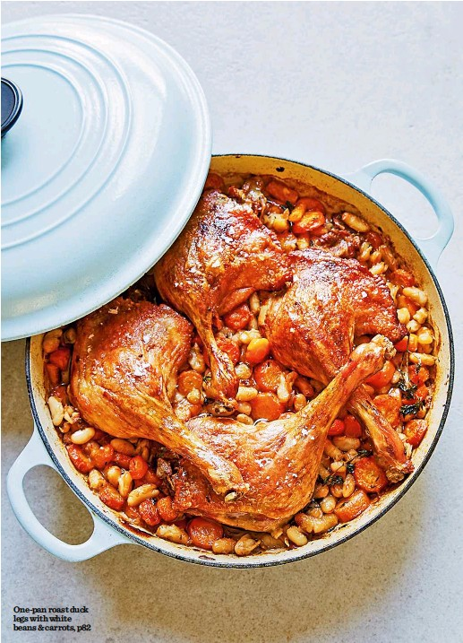 ??  ?? One-pan roast duck legs with white beans & carrots, p82