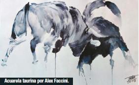 ??  ?? Acuarela taurina por Alex Faccini.